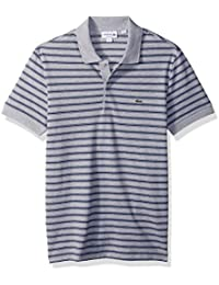 Lacoste Men's Short Sleeve Striped Pique Polo-Regular Fit