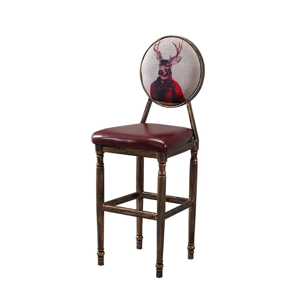 A Barstools - American Retro Bar Stool Creative Leisure High Foot Chair Iron Art Backrest Seat Cafe Counter Personality Decoration 0425A (color   N)