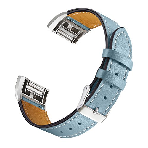 bayite Leather Bands Compatible Fitbit Charge 2, Replacement Accessories Straps Women Men, Stone Blue
