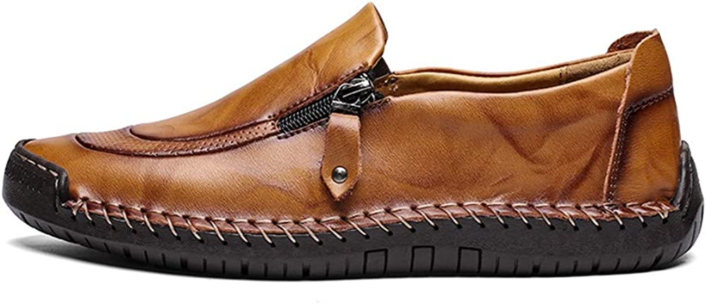 CUSTOME Mens Hand Stitching Side Zipper Casual Loafers