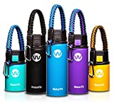 kids sports bottle insulated - WaterFit Vacuum Insulated Water Bottle - Double Wall Stainless Steel Leak Proof BPA Free Sports Wide Mouth Water Bottle - Travel Coffee Mug - 12 oz, 16 oz or 20 oz - 5 colors with Paracord Handle