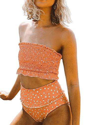 Aleumdr Women's 2 Pieces Bandeau Bikini Swimsuits Off Shoulder High Waist Bathing Suit High Cut Yellow Large 12 14