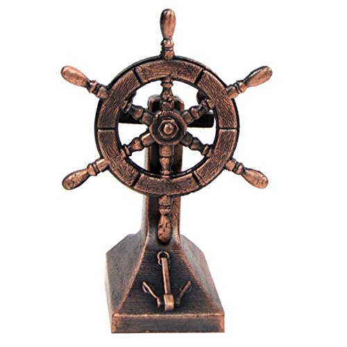 TG,LLC Bronze Metal Ships Helm Ship Wheel Miniature Replica Die Cast Pencil Sharpener (Metal Ship Figurines)