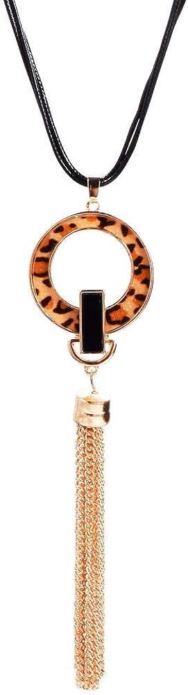 Zxx17 Atractivo y Elegante,Moderno y Sofisticado para Cualquier Atuendo,Collar Colgante para Mujer,Moda Simple,Creativo Regalo,Conjunto de Pendientes de Collar con Flecos de Cuerda de Cuero