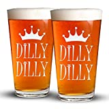 Cheap Dilly Dilly – 2 Pack – Engraved Beer Glass – 16oz Clear Pint Glass – Great for a Bud – Light Humor – Funny Gifts for Men and Women by Sandblast Creations …