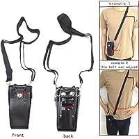 Lsgoodcare Black Hard Leather Carrying Holder Holster Case with Adjustable Shoulder Strap for Motorola 2 Way Radio HT1250 HT1550 GP320 GP340 GP380 GP338