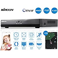 KKmoon 16CH 1080N/720P Full AHD DVR HVR NVR HDMI P2P Cloud Network Onvif Digital Video Recorder & 2TB HDD Plug and Play Android/iOS APP Free CMS Browser View Motion Detection Email Alarm