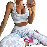 uskincare 2 Piece Women's Yoga Suits Yoga Clothing Sports Bra Leggings Sportswear (S, Rose & Camouflage) Review