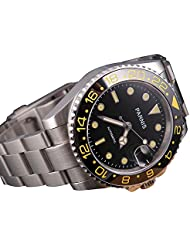 Fanmis Black Dial Yellow Number Sea Style Ceramic Bezel Automatic Mechanical Mens Womens Wrist Watch
