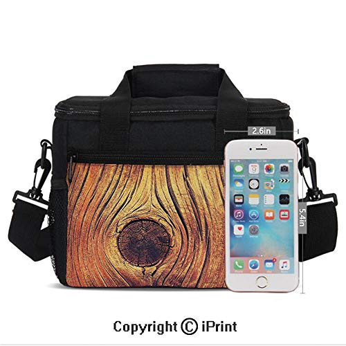 Insulated Lunch Box Lfe Tree Concept with Divided Core Macro Circles Habitat Natural Wonder Photo Print Portable Lunch Bag Reusable Carry Boxes Cooler Tote Bag for School Work Office Picnic Gym,Brown
