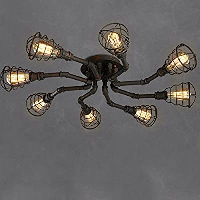 4 Lights Industrial Cage Pipe Pendant Light-LITFAD Retro Rustic Iron Black Vintage Hanging Pendant Lamp Edison Ceiling Chandelier Semi-Flush Fixtures