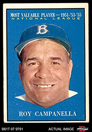 Amazoncom 1961 Topps 480 Most Valuable Player Roy Campanella Los