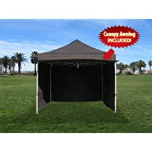 Impact Canopies 10x10 Easy Pop Up Canopy Tent with Sidewalls and Awning, Black