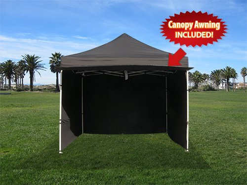 Impact Canopies 10x10 Easy Pop Up Canopy Tent With Sidewalls And Awning Black