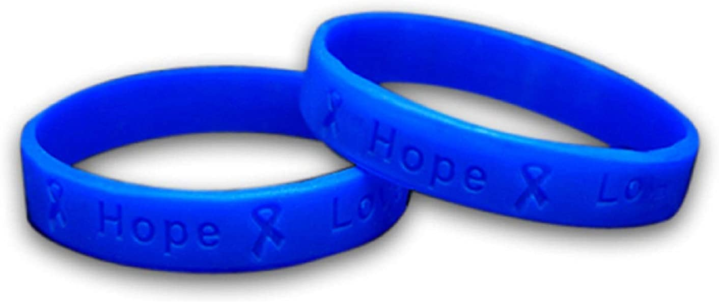 Amazon Com Fundraising For A Cause Blue Colon Cancer Bracelet Blue Ribbon Cancer Awareness Silicone Bracelet For Adults 1 Bracelet Sports Outdoors