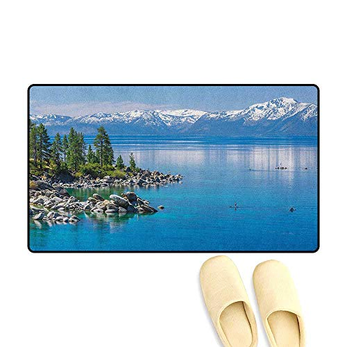 Bath Mat Non Slip Blue Waters of Lake Tahoe Snowy Mountains Pine Trees Rocks Relax Shore Size:24