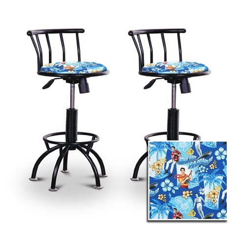 2 24''-29'' Elvis Presley Blue Hawaii Fabric Seat Black Adjustable Specialty / Custom Barstools Set by The Furniture Cove