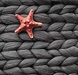 "LittleSheep Chunky Knit Blanket DIY Handmade Wool Chunky Throw Blanket,Super Soft Bulky Knit Throw Giant Knit Blanket (Dark Grey,40""x59"")"