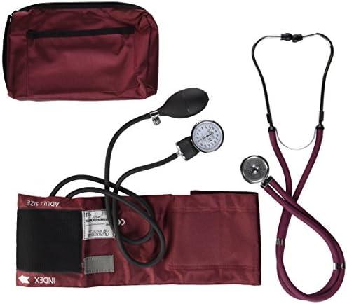 NCD Medical/Prestige Medical Set mit Aneroid-Manometer und Doppelkopf-Stethoskop, Burgunder