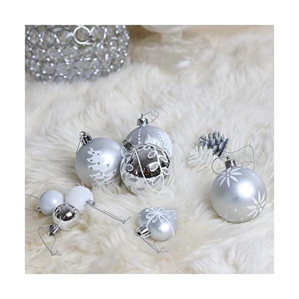 Victor's Workshop 70 Pezzi di Palline di Natale, 3-6 cm congelato Inverno Argento e Bianco Infrangibile Ornamenti Palla di Natale Decorazione per la Decorazione Dell'Albero di Natale 6 spesavip