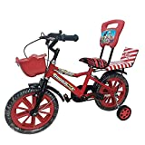 Global Bikes Spider 14T Kids Bicycle for 2 to 5 Year Fully Adjustable with Back Support for Boys and Girls (14T,Red)