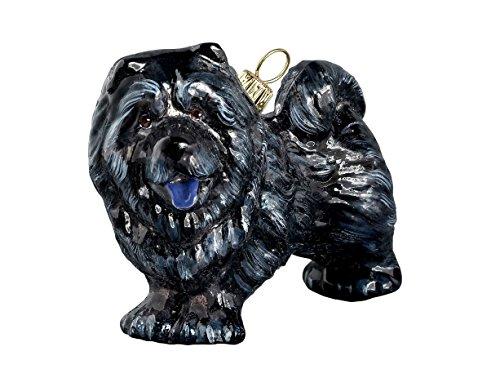 Black Chow Chow Standing Dog Polish Blown Glass Christmas Ornament