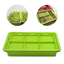 Sprout Tray 6-Cell Double-Layer Extra Thick Soil-Free Healthy Wheatgrass Grower Seed Sprouter 12.6x8.7inch (Green)
