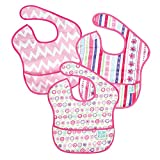 Baby : Bumkins Baby Bib, Waterproof SuperBib 3 Pack, G8 (Ribbon/Bloom/Pink Chevron) (6-24 Months)