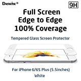 iPhone 6s Plus, iPhone 6 Plus Screen Protector, Daswise Full Screen Anti-scratch Tempered Glass Protectors, Cover Edge-to-Edge, HD Clear, Bubble-free Shockproof [3D Touch Compatible] (5.5 White)
