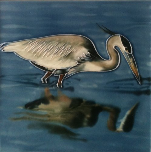 Heron Fishing Decorative Ceramic Wall Art Tile 6x6 ()