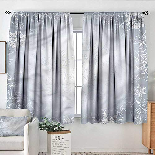 Anzhutwelve Ombre,Girs Room Backout Curtains Christmas Frame Swirls 104