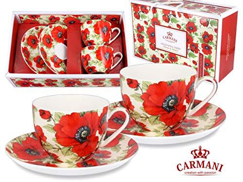 Carmani CR-840-1026, 7 Oz Cups & Saucers w/Poppies Painting, Porcelain Cups, Teacup, Enamel Coffee Mug, Gift Idea, Set of 2