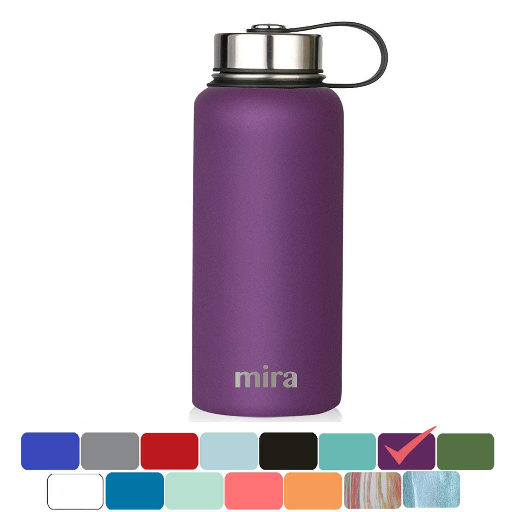 MIRA 32 Oz Stainless Steel Vacuum Insulated Wide Mouth Water Bottle | Thermos Keeps Cold for 24 Hours, Hot for 12 Hours | Double Wall Powder Coated Travel Flask | Iris by MIRA
