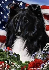 Sheltie Bi negro–mejor de raza patriótica jardín banderas