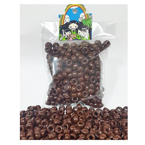 300 pcs Brown Acrylic Round Pony Beads for Hair Braid Dreadlock School Kids Craft Bracelet Necklace Jewelry Making Charms - Round Ebony Brown And