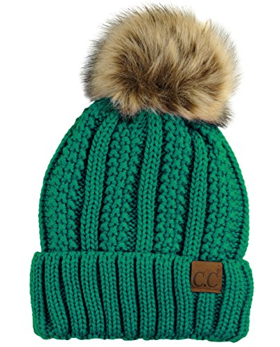 C.C Thick Cable Knit Faux Fuzzy Fur Pom Fleece Lined Skull Cap Cuff Beanie, Sea - Knit Green Beanie Hat Cap