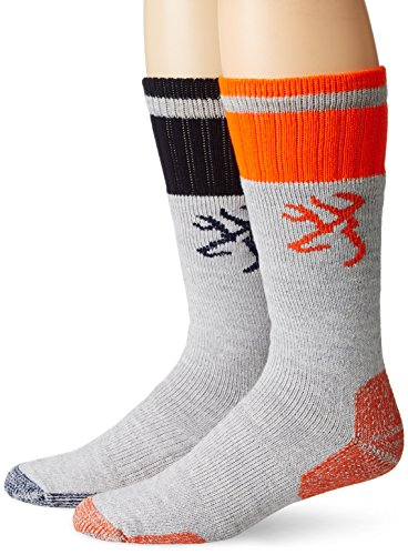 Browning Hosiery Men's Wool Blend Boot Socks Pack (2 Pair), Orange, Large