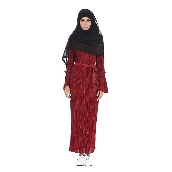 NPRADLA Large Falda Vestido de Cadera con Mangas de Trompeta de Rayas Plisadas y Sexy de Verano musulmán Partido Elegante Moda Rojo L: Amazon.es: Ropa y ...