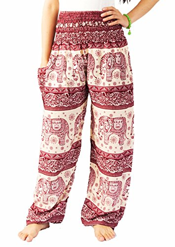 Baggy Elephant Pants Hippie Style Gypsy, Harem Pants For Women Size 0-14 US (Red)