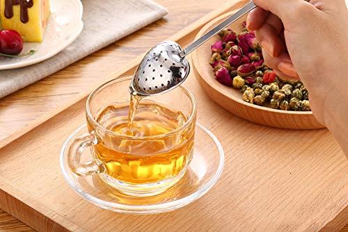 Tea Filter Long Grip Stainless Steel Mesh Heart Shaped Tea Strainer Spoon, Set of 10 Tea Infuser Spoon by WYOK (Image #4)