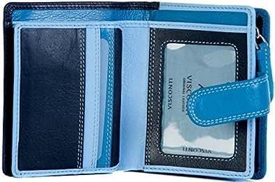 Visconti - Funda de piel para mujer pequeño 9 ranuras para tarjetas de varios tonos de azul RB40
