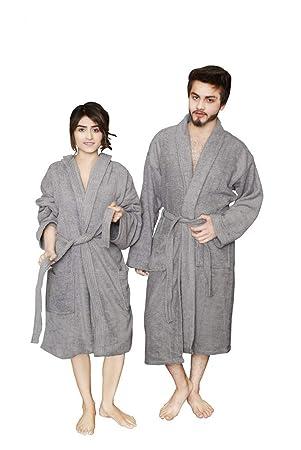 Qaisiria - Albornoz de algodón Egipcio Unisex para Hombre y Mujer, Toalla de Rizo,