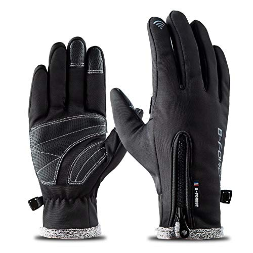 - Cold Weather Tonchcreen Gloves, Outdoor Windproof Waterproof Winter Gloves for Cycling Motorcycle Skiing Ice Fishing Snowboard (Black,L)