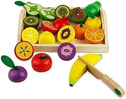 Frutta di Legno da Tagliare Gioco di Ruolo per 3 Anni Bambini (21 Pezzi)