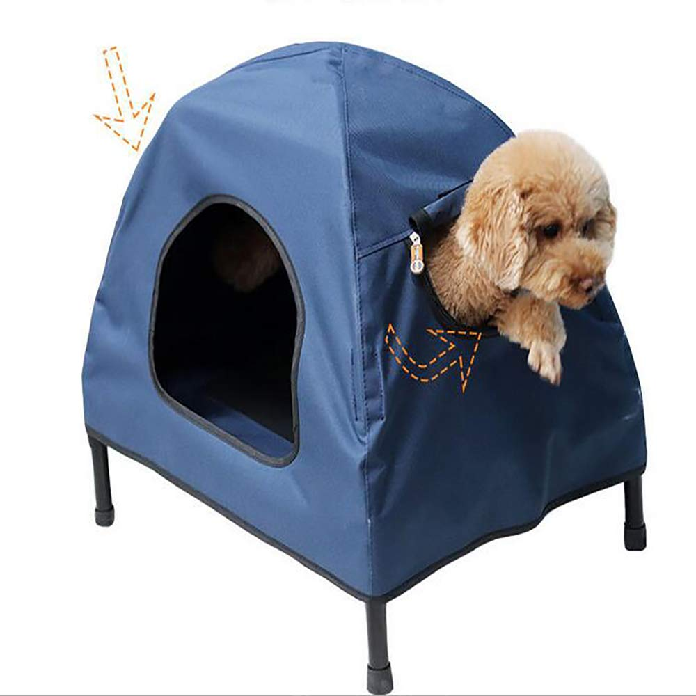 bluee Large bluee Large Elevated Dog Bed Foldable Play and Rest Bed for Dogs and Cats Comes with Removable Canopy,bluee,L