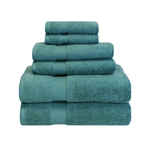 Superior Zero Twist 100% Cotton Bathroom Towels, Super Soft, Fluffy, and Absorbent, Premium Quality 6 Piece Towel Set with 2 Washcloths, 2 Hand Towels, and 2 Bath Towels - Jade (Bathroom Teal Towels)