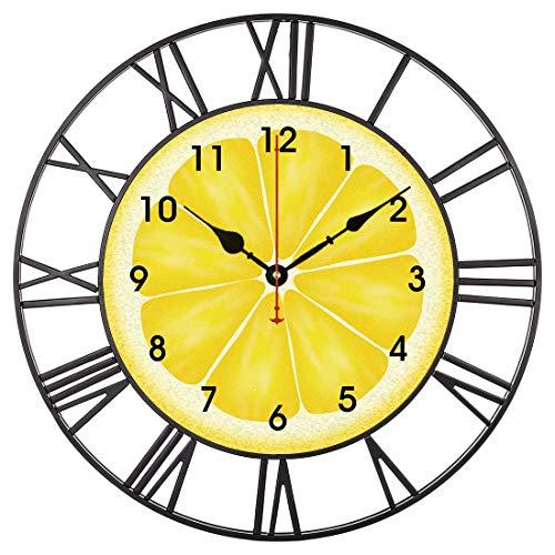 EnjoyHome Yellow Lemon Citrus Fruit Large Iron Metal Wall ClockIndoor