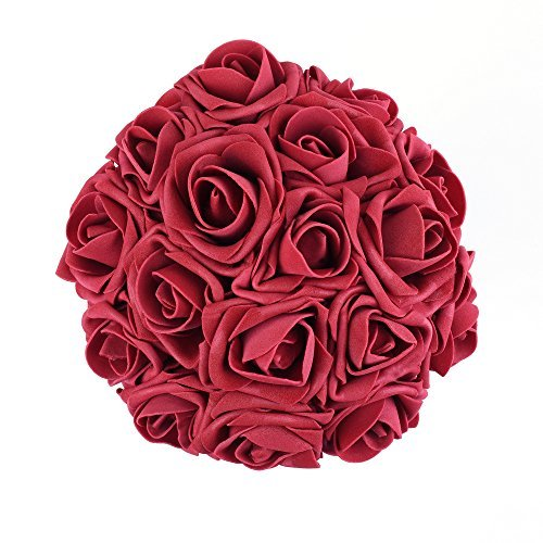 Febou Artificial Flowers, 100pcs Real Touch Artificial Foam Roses Decoration DIY for Wedding Bridesmaid Bridal Bouquets Centerpieces, Party Decoration, Home Display (Concise Type, Dark Red)