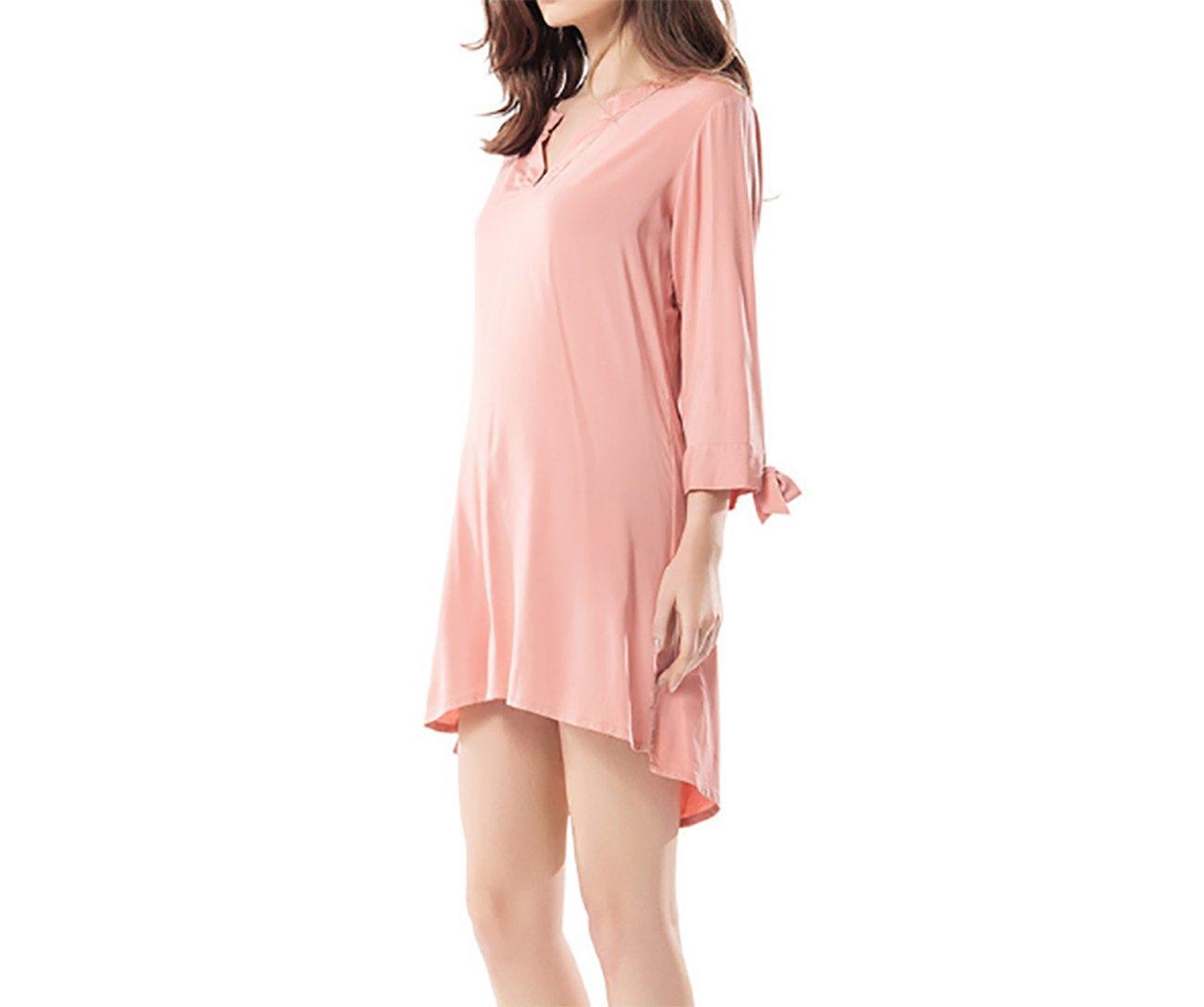 Pijamas de verano de las señoras camisón de algodón de las señoras pijamas lindos flojos pijamas ocasionales caseros del servicio de la casa (Color : Light ...
