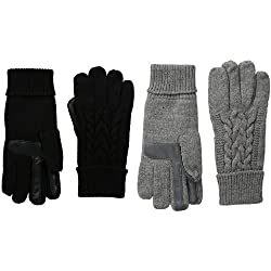 Isotoner Women S Solid Triple Cable Knit Smartouch Gloves Black Oxford Heather 2 Pack One Size
